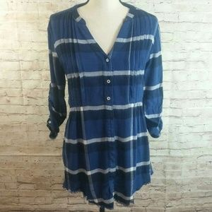 Anthro Holding Horses Pintucked Flannel Tunic Top